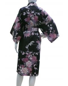 Bathrobe Kimono Flying Crane black short