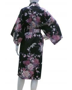 Bademantel Kimono Fliegender Kranich schwarz kurz