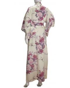 Lady kimono Flying Crane white