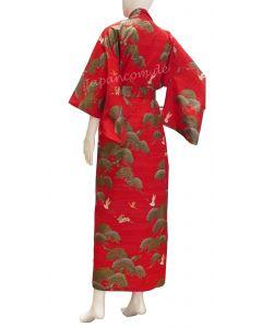 Damen Kimono Kraniche Kiefern rot