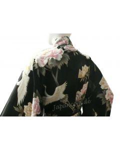 Damen Kimono Royal Cranes schwarz, lang, Baumwolle
