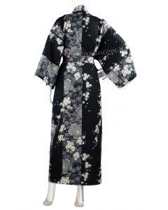 Kimono Sakura Kirschblüte gefüttert 135 cm lang-schwarz