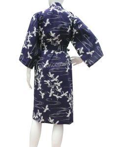 Yukata Kimono Schneekraniche blau kurz