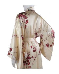 Kimono Cherry Blossom beige, Seide, lang