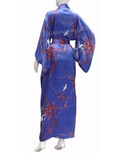 Seiden Kimono Cherry Blossom (Kirschblüte) blau, lang