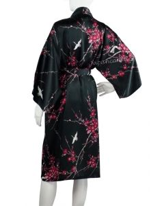 Kimono Seide Cherry Blossom schwarz kurz