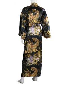 Seidenkimono Drachen & Tiger schwarz, lang