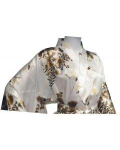 Kimono Seide Kiku Tsuru (Kranich) weiss
