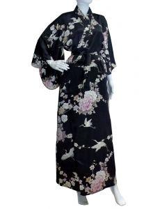 Damen Kimono Seide Royal Cranes schwarz, lang