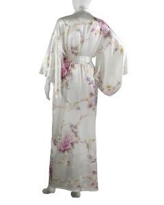 Seiden Kimono Royal Cranes perlweiss