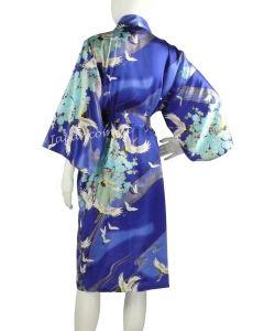 Kimono Seide Tsuru blau kurz