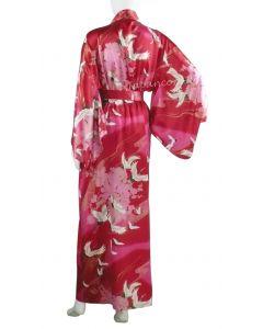 Kimono Seide Tsuru (Kranich) rot, lang