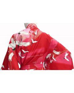 Damen Kimono Tsuru Kranich rot Baumwolle