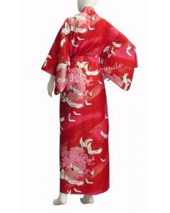 Damen Kimono Tsuru Kranich rot