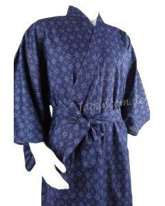 Yukata Rautenmuster blau, Gr. M, lang, Baumwolle