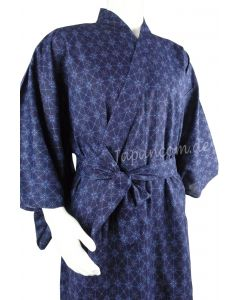 Yukata Rautenmuster blau, lang, Baumwolle