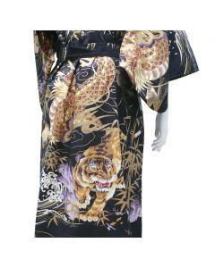 Damen Kimono Drachen Tiger schwarz-braun