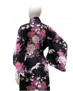 Damen Kimono Fliegender Kranich schwarz