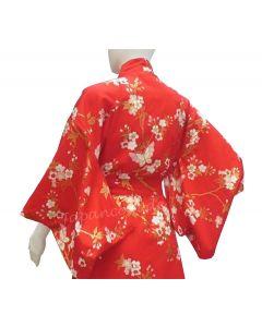 Kimono Schmetterling & Kirschblüten rot 137cm