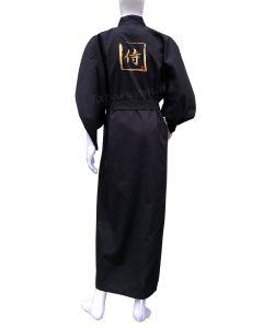 Kimono Stickerei Samurai, schwarz, Baumwolle, lang