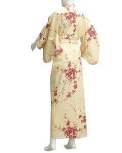 Kimono Cherry Blossom (Kirschblüte) beige extra weit, Dame