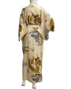 japanischer Damen Kimono Drachen Tiger beige