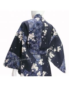 Damen Kimono Sakura Kirschblüte blau, lang