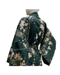 Kimono Sakura (Kirschblüte) grün, lang, Dame