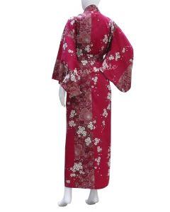 Damen Kimono Sakura Kirschblüte bordeaux