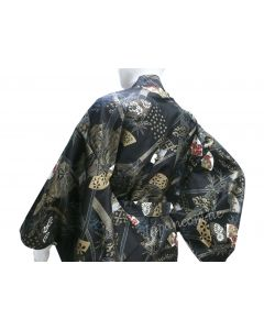 Japanischer Damen Kimono Sensu Take schwarz