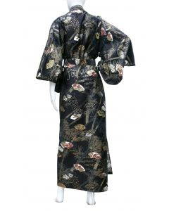 Japansicher Damen Kimono Sensu Take schwarz