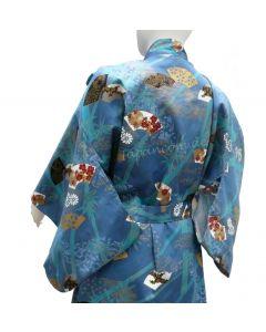 japanischer Damen Kimono Sensu Take (Fächer Bambus) türkis