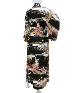 Kimono Ukiyoe schwarz