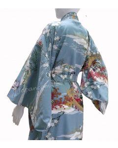 japanischer Damen Kimono Ukiyoe türkis