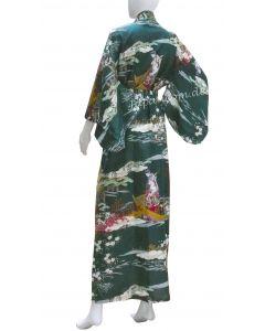 Damen Kimono Ukiyoe grün
