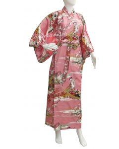 Japan Damen Kimono Ukiyoe pink
