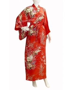Damen Seiden Kimono Ume rot, lang
