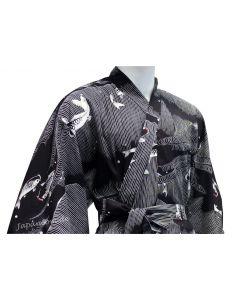 Herren Männer Yukata Kimono Koi schwarz aus Japan
