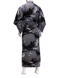 Herren Yukata Koi schwarz L, 150cm