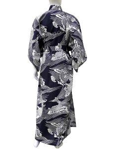 Herren Männder Yukata Kimono Koi Karpfen blau