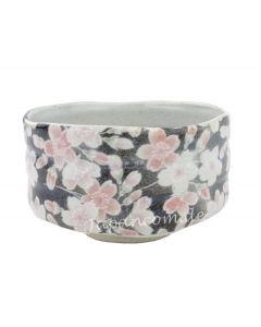 Matcha Schale Kirschblüten schwarz