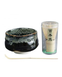 Matchaset Yuzu Tenmoku schwarz-grün