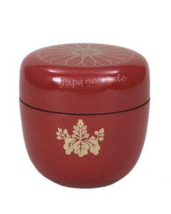 Natsume Kiku rot - Lackdose für Matcha-Tee aus Holz