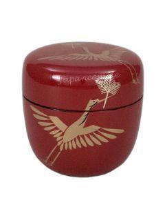 Natsume Tsuru rot - Lack Teedose für Matcha