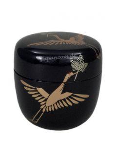 Natsume Tsuru schwarz - Lack Teedose für Matcha aus Holz