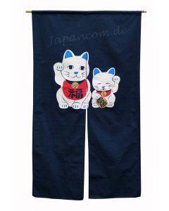 Noren Maneki Glückskatze blau lang