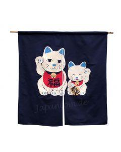 Noren Maneki Glückskatze blau kurz