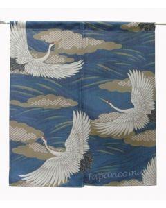 Noren Kraniche kurz, 80 x 90 cm, blau