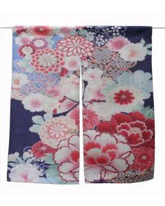 Noren Yuzen blau kurz, 80 x 90 cm