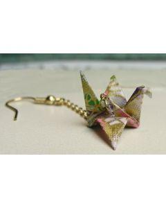 Ohrring Origami Papier Kranich violett